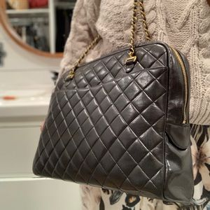 CHANEL Quilted Matelasse CC Logo Lambskin Tote